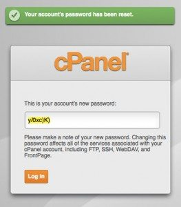 cPanel siteadmin get new password