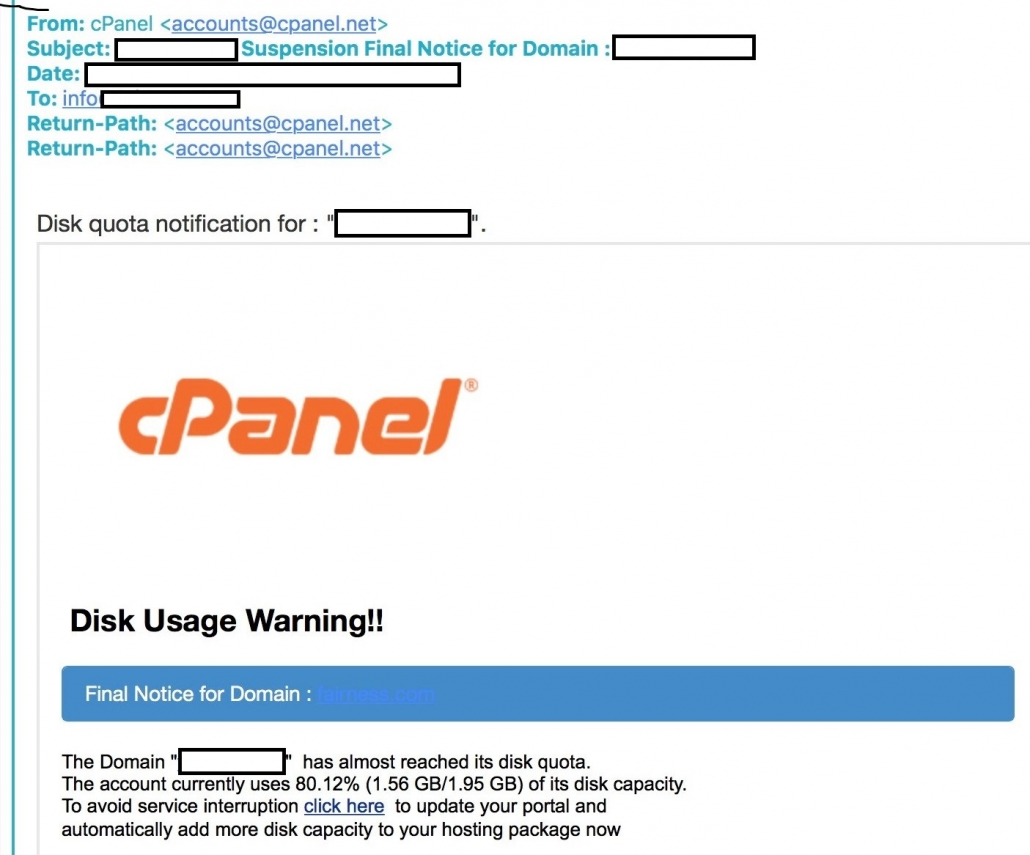 image of cpanel phishing warning