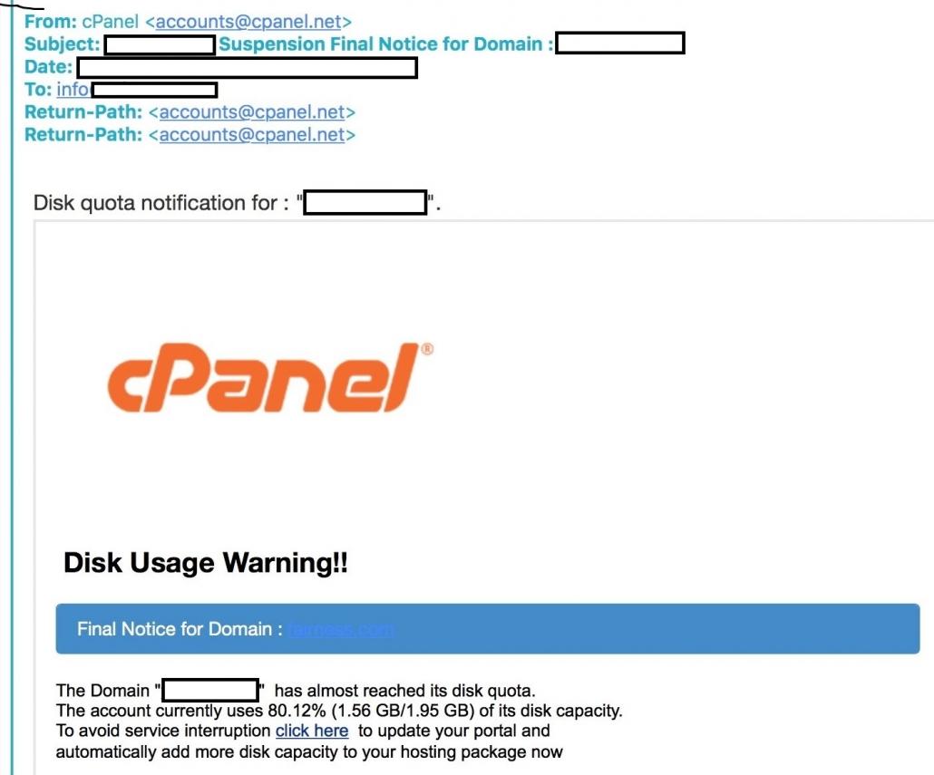 image of cpanel phishing warning