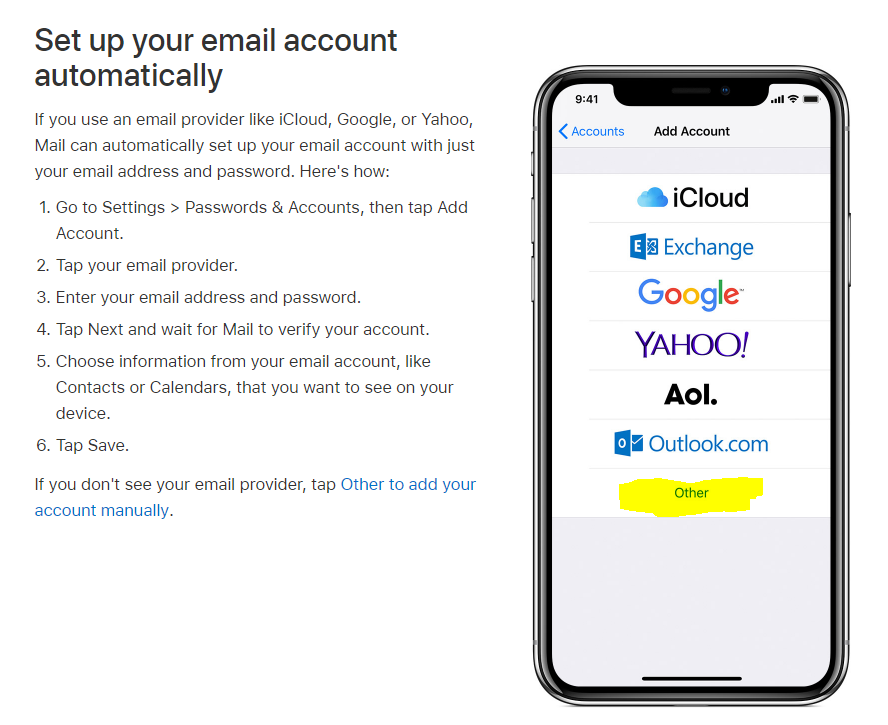 Configure iPhone email