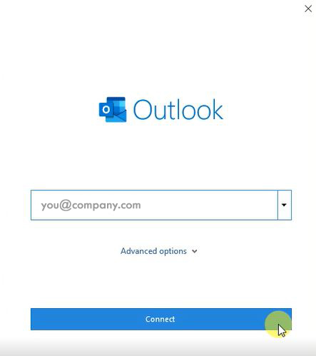 An image of Outlook config screen where you type in your email address.