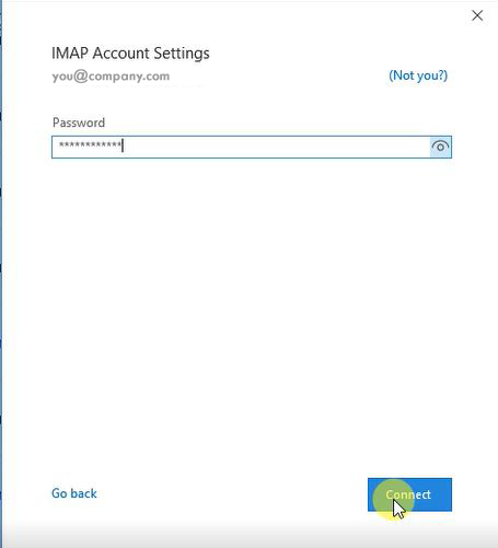 Image of step 3 for configuring Outlook 2019.
