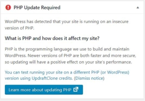 Image of a PHP update warning displayed by WordPress