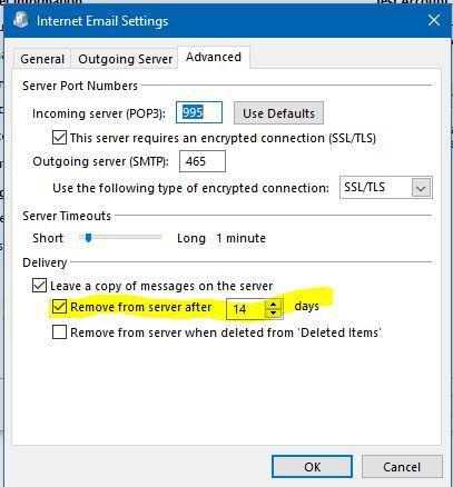 POP Delete from server